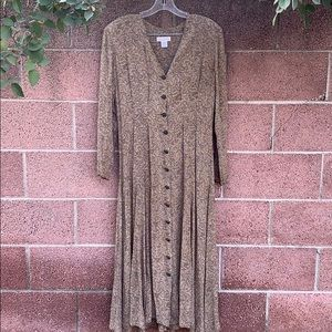 Vintage 90's Long Sleeve Button Front Maxi Dress